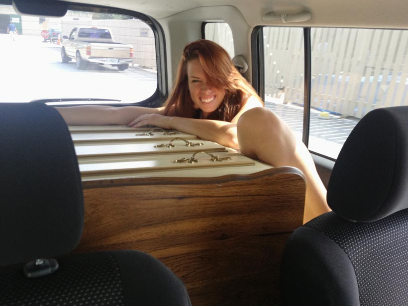 We fit the dresser in the back of Adora's car (barely) but that didn't leave much room for me!